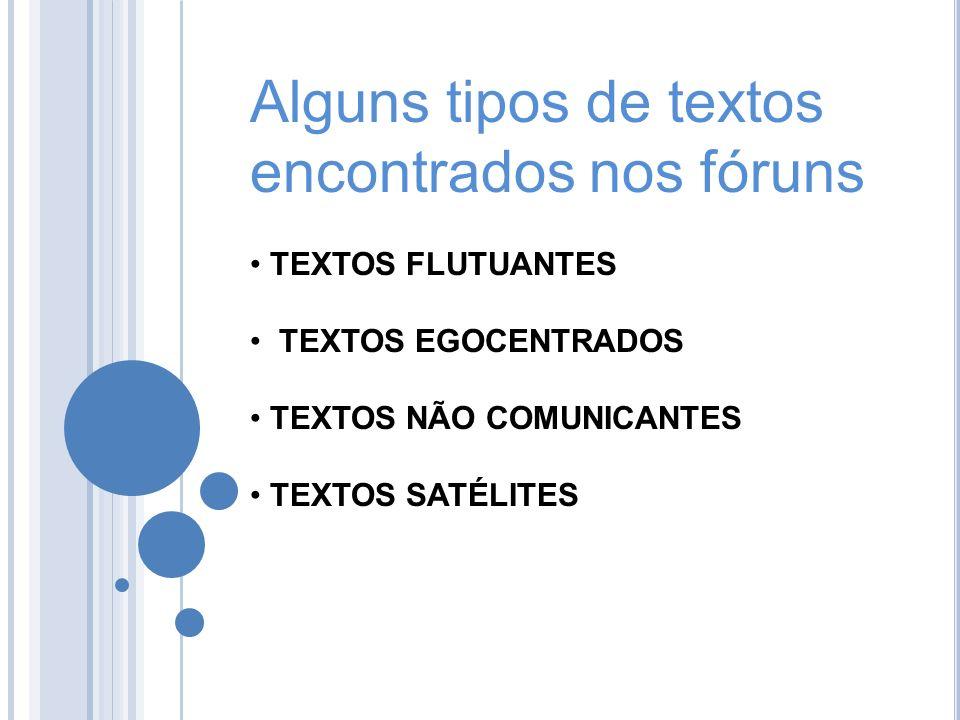 Alguns tipos de textos encontrados nos fóruns