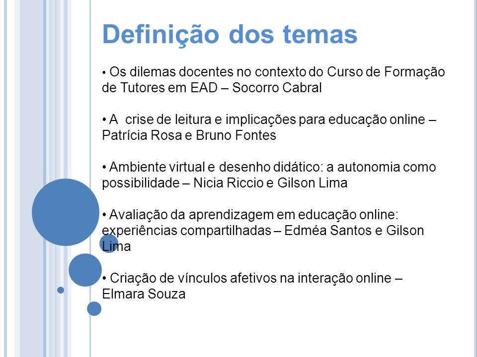 Definição dos temas Os dilemas docentes no contexto do Curso de Formação de Tutores em EAD – Socorro Cabral.