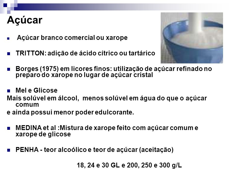 Açúcar TRITTON: adição de ácido cítrico ou tartárico