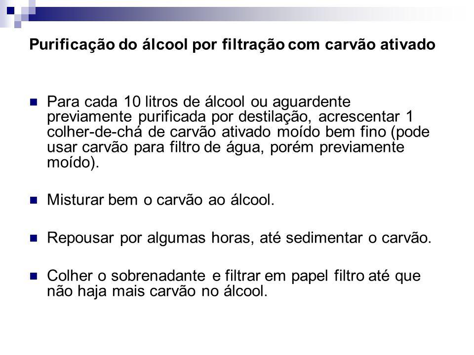 Purificação do álcool por filtração com carvão ativado