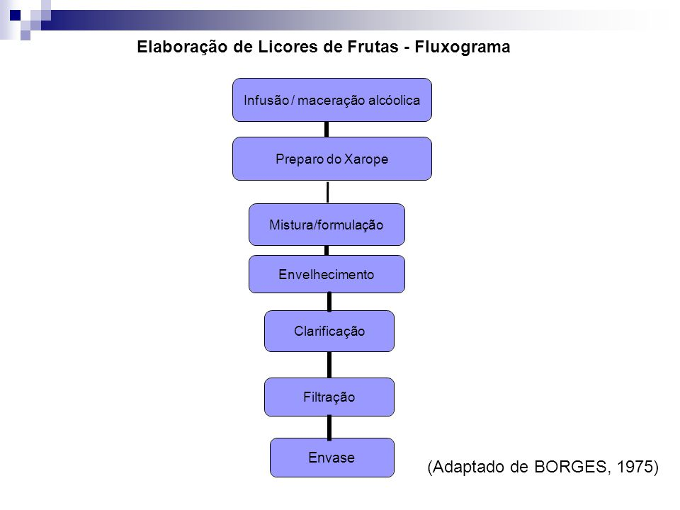 Elaboração de Licores de Frutas - Fluxograma