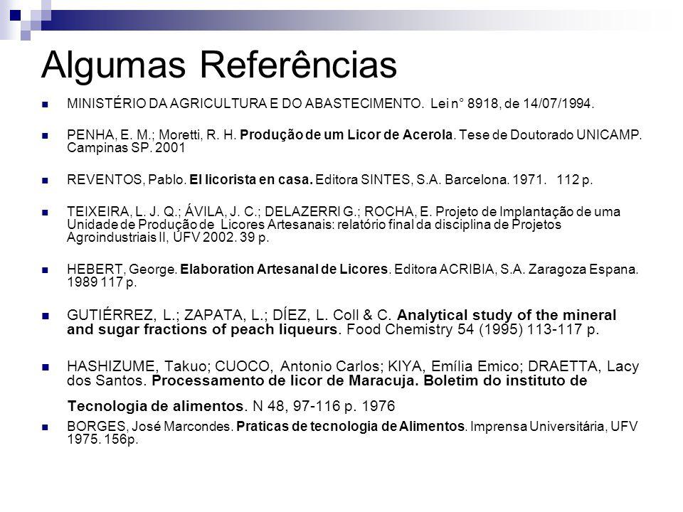Algumas Referências MINISTÉRIO DA AGRICULTURA E DO ABASTECIMENTO. Lei n° 8918, de 14/07/1994.