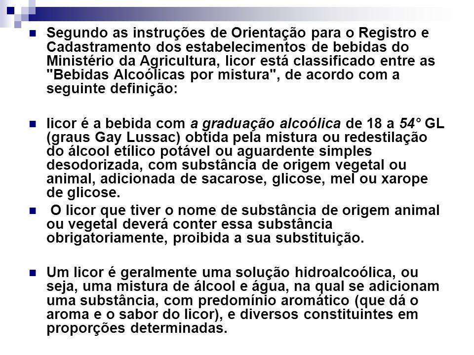 Segundo as instruções de Orientação para o Registro e Cadastramento dos estabelecimentos de bebidas do Ministério da Agricultura, licor está classificado entre as Bebidas Alcoólicas por mistura , de acordo com a seguinte definição: