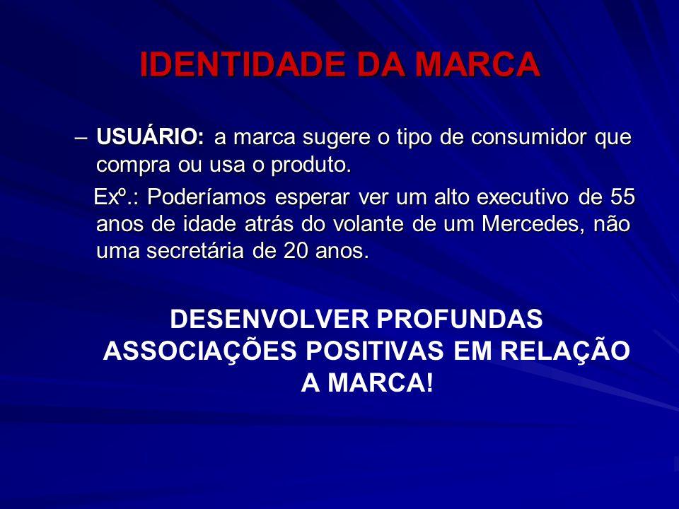 DESENVOLVER PROFUNDAS ASSOCIAÇÕES POSITIVAS EM RELAÇÃO A MARCA!