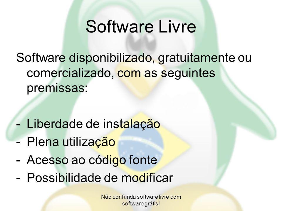 Não confunda software livre com software grátis!