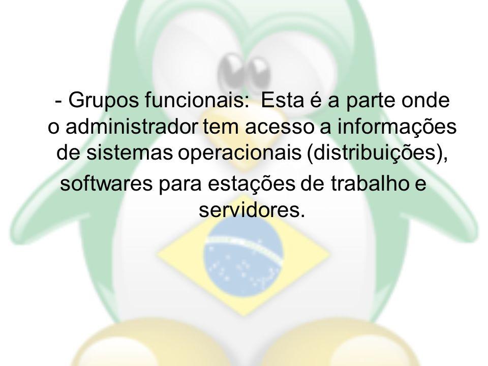 - Grupos funcionais: Esta é a parte onde o administrador tem acesso a informações de sistemas operacionais (distribuições), softwares para estações de trabalho e servidores.