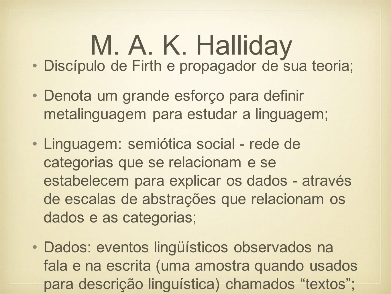 M. A. K. Halliday Discípulo de Firth e propagador de sua teoria;