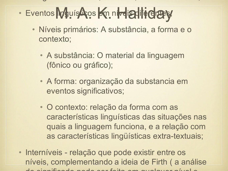 M. A. K. Halliday Categorias: Unidade, estrutura, classe e sistema;