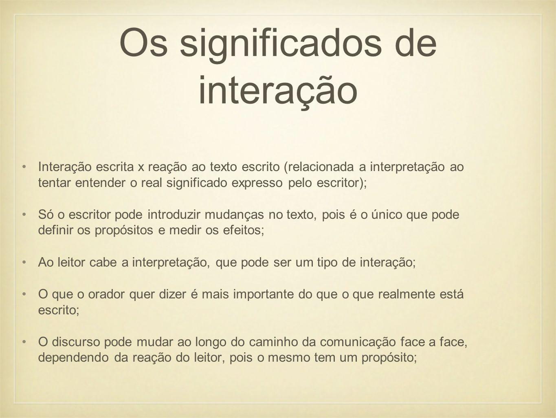 Os significados de interação