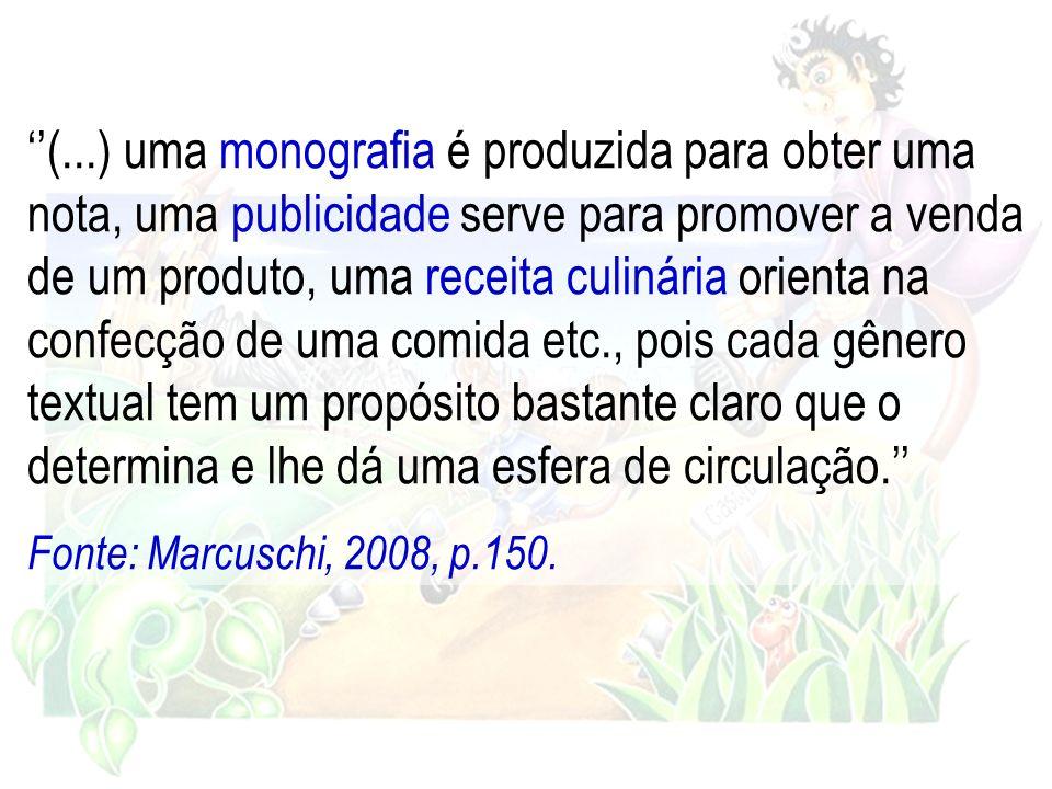 ''(...) uma monografia é produzida para obter uma nota, uma publicidade serve para promover a venda de um produto, uma receita culinária orienta na confecção de uma comida etc., pois cada gênero textual tem um propósito bastante claro que o determina e lhe dá uma esfera de circulação.''