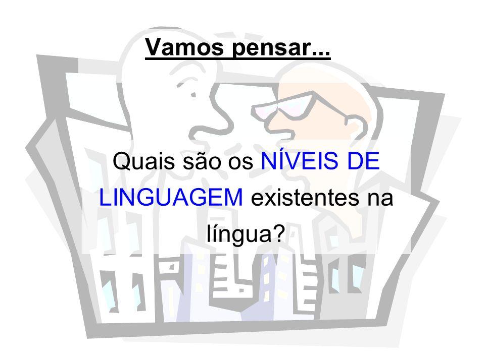 Quais são os NÍVEIS DE LINGUAGEM existentes na língua