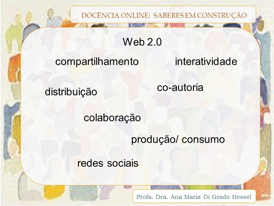 Web 2.0 compartilhamento. interatividade. co-autoria. distribuição. colaboração. produção/ consumo.