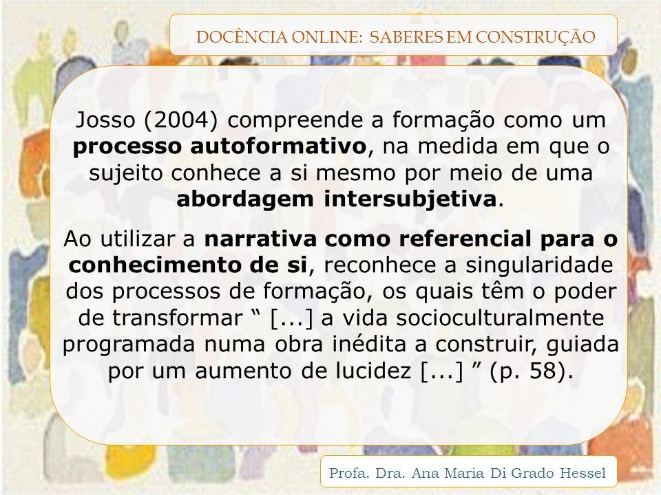Josso (2004) compreende a formação como um processo autoformativo, na medida em que o sujeito conhece a si mesmo por meio de uma abordagem intersubjetiva.