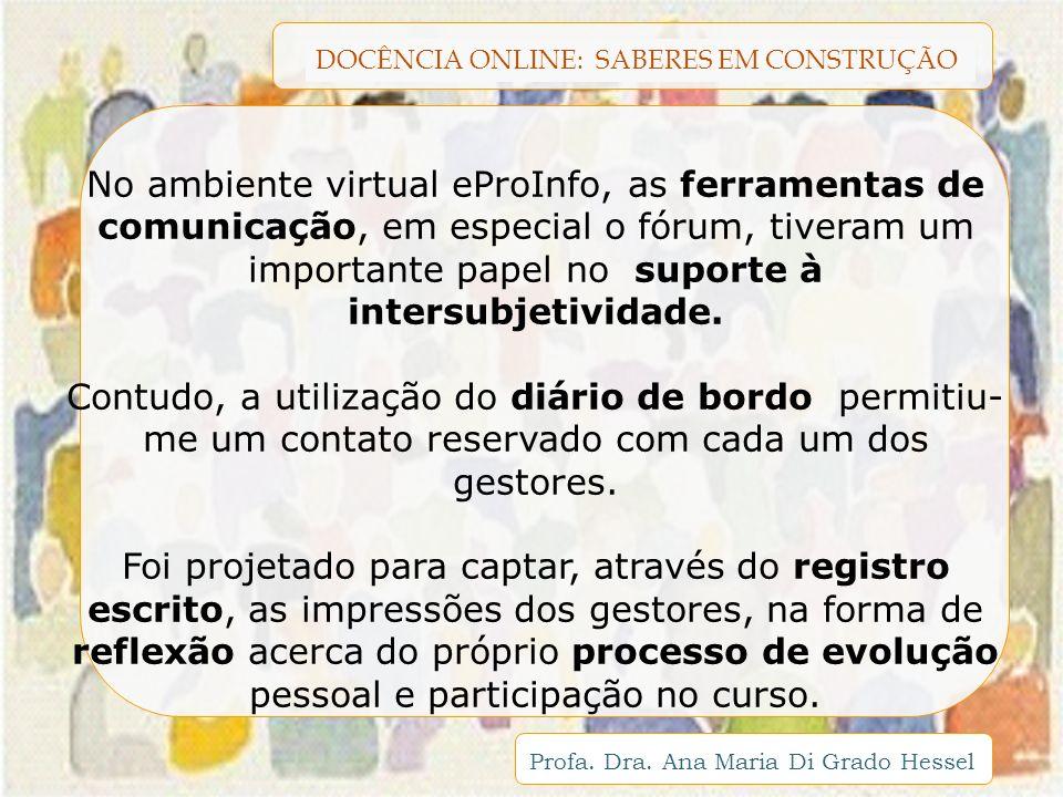 No ambiente virtual eProInfo, as ferramentas de comunicação, em especial o fórum, tiveram um importante papel no suporte à intersubjetividade.