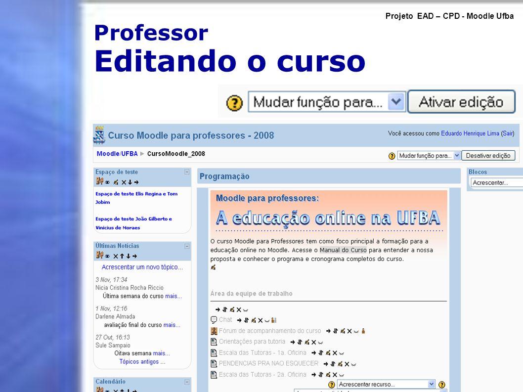 Professor Editando o curso