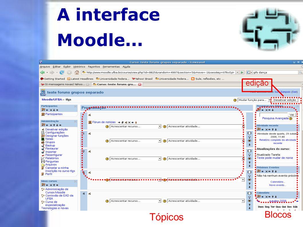 A interface Moodle... edição Blocos Tópicos