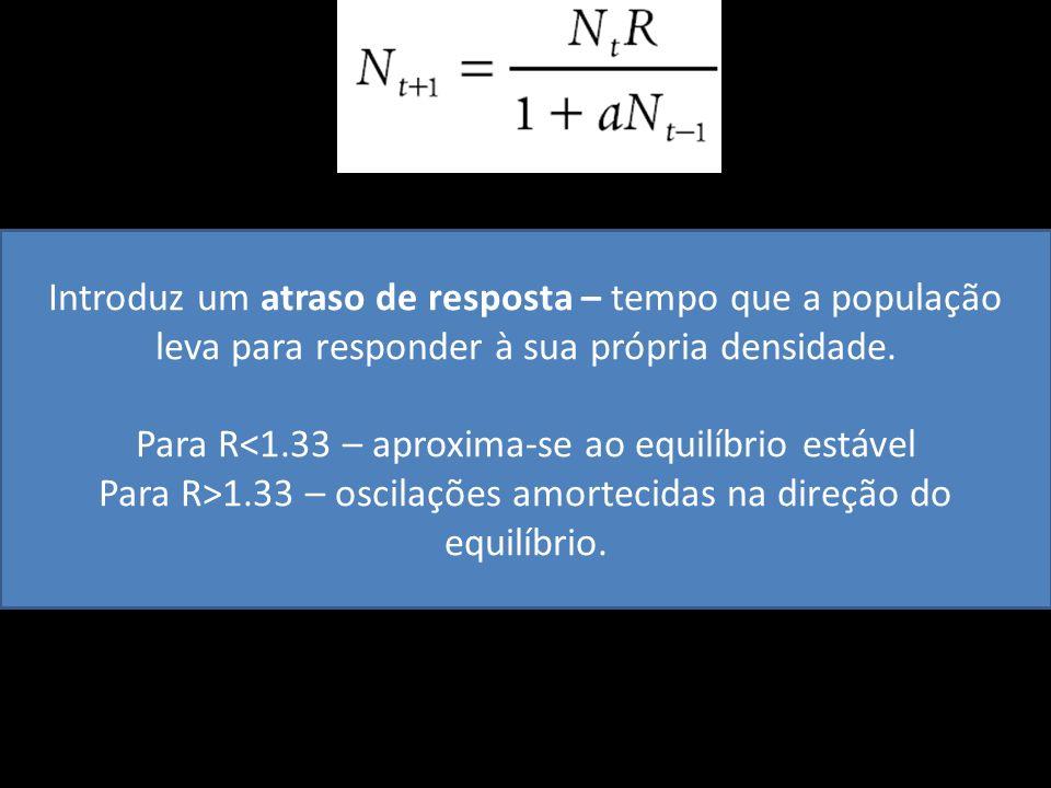 Para R<1.33 – aproxima-se ao equilíbrio estável