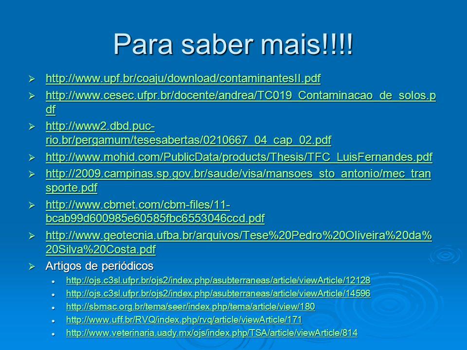 Para saber mais!!!! http://www.upf.br/coaju/download/contaminantesII.pdf. http://www.cesec.ufpr.br/docente/andrea/TC019_Contaminacao_de_solos.pdf.