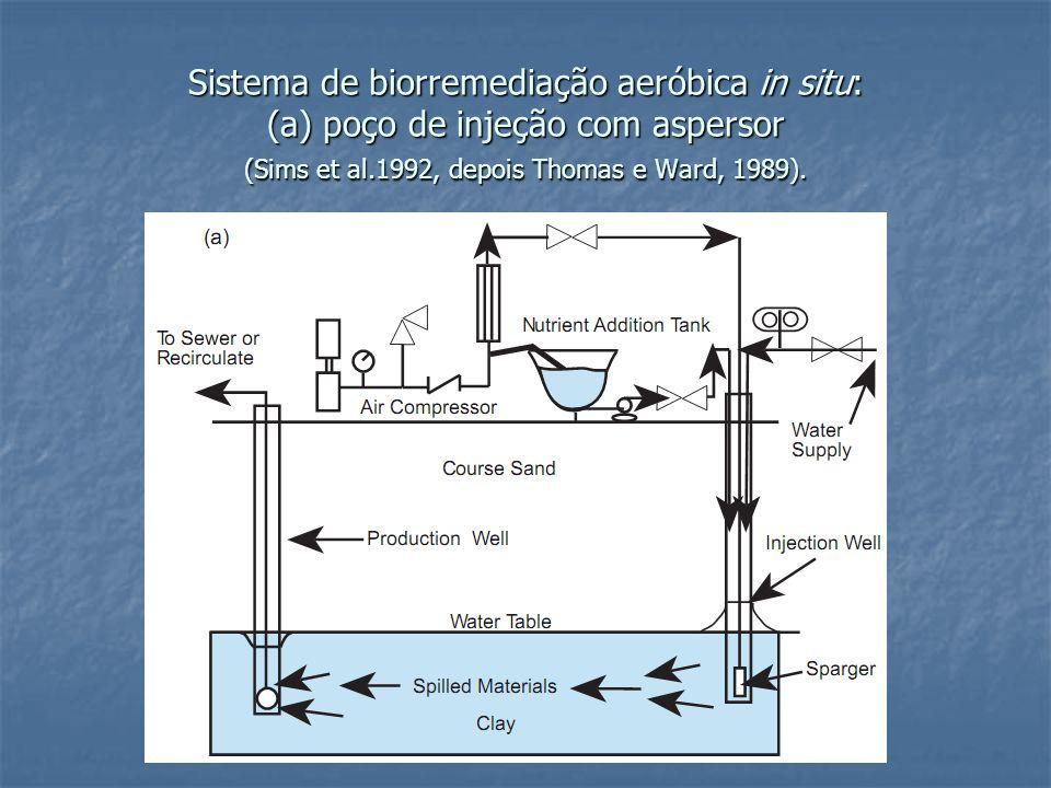 Sistema de biorremediação aeróbica in situ: (a) poço de injeção com aspersor (Sims et al.1992, depois Thomas e Ward, 1989).