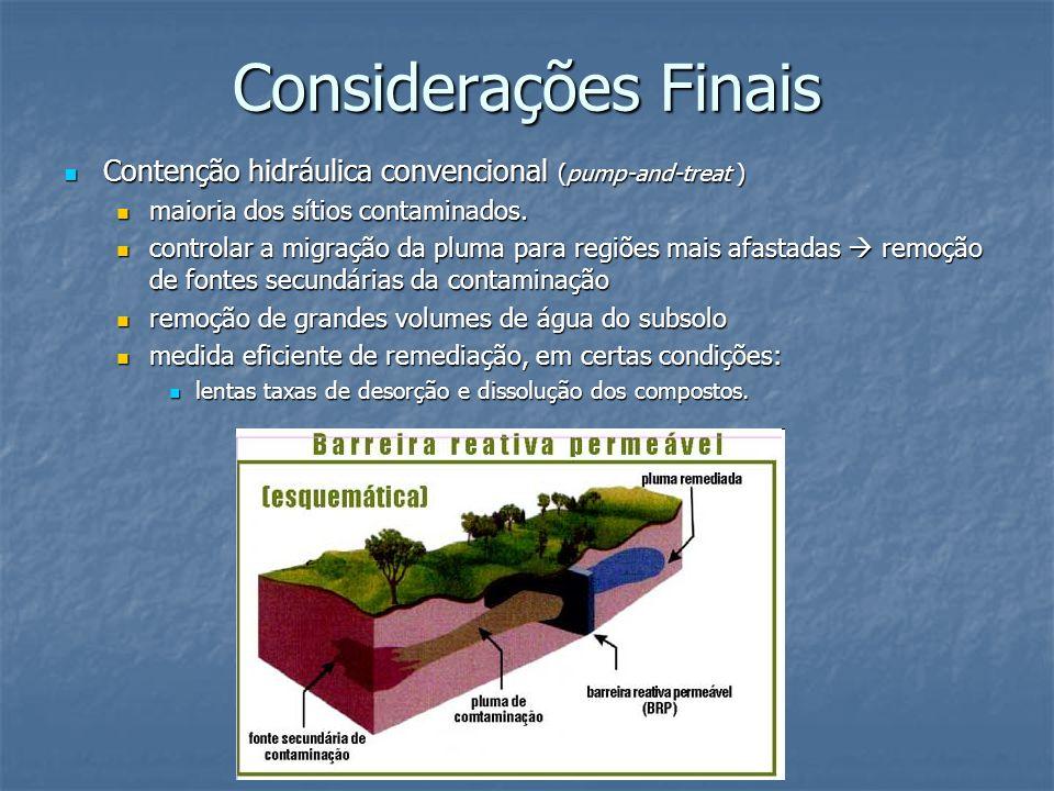 Considerações Finais Contenção hidráulica convencional (pump-and-treat ) maioria dos sítios contaminados.