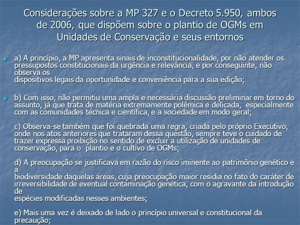 Considerações sobre a MP 327 e o Decreto 5