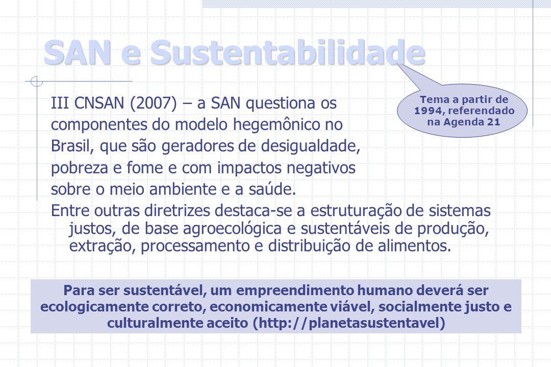 SAN e Sustentabilidade