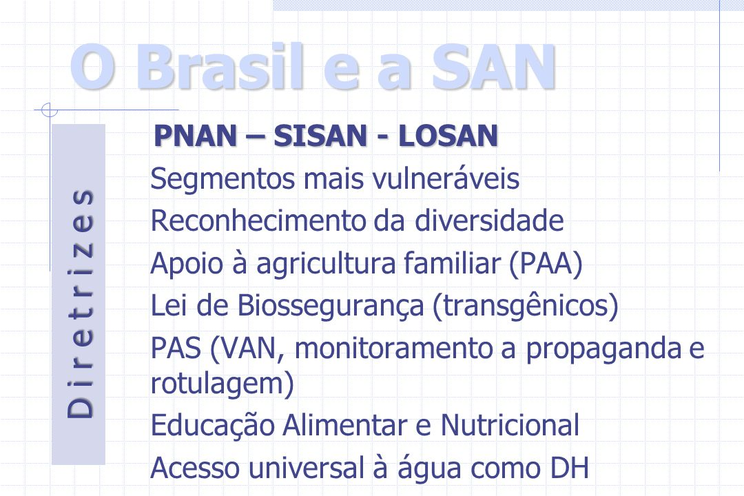 O Brasil e a SAN D i r e t r i z e s PNAN – SISAN - LOSAN