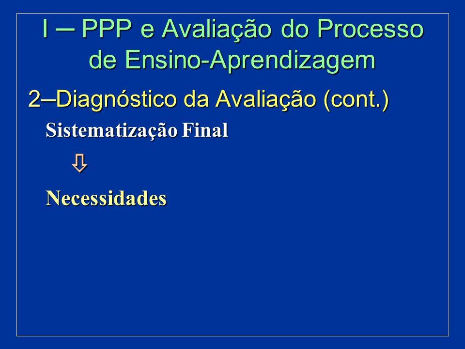 I ─ PPP e Avaliação do Processo de Ensino-Aprendizagem