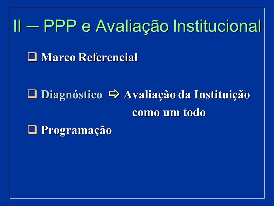 II ─ PPP e Avaliação Institucional