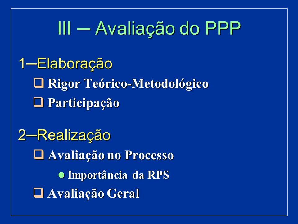 III ─ Avaliação do PPP 1─Elaboração 2─Realização