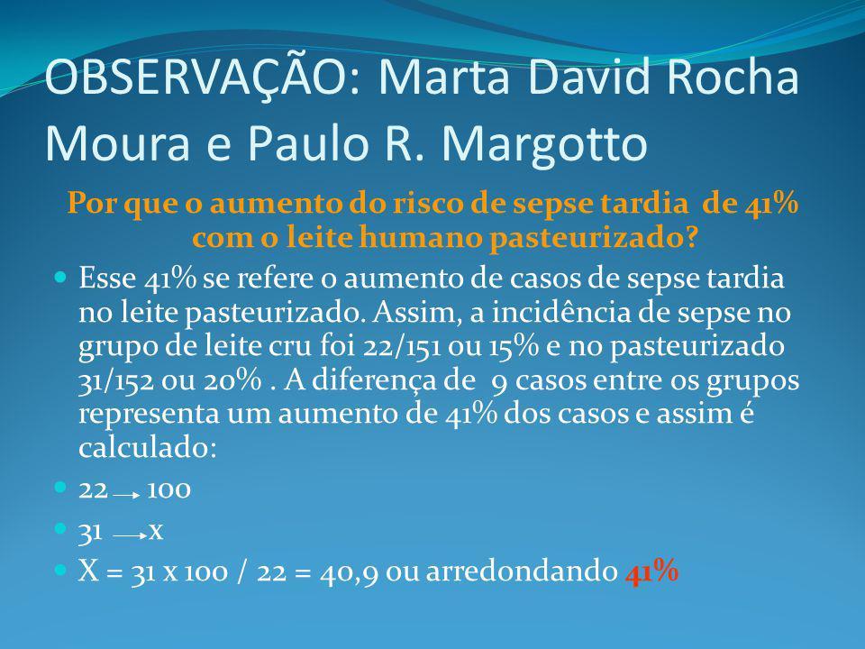 OBSERVAÇÃO: Marta David Rocha Moura e Paulo R. Margotto