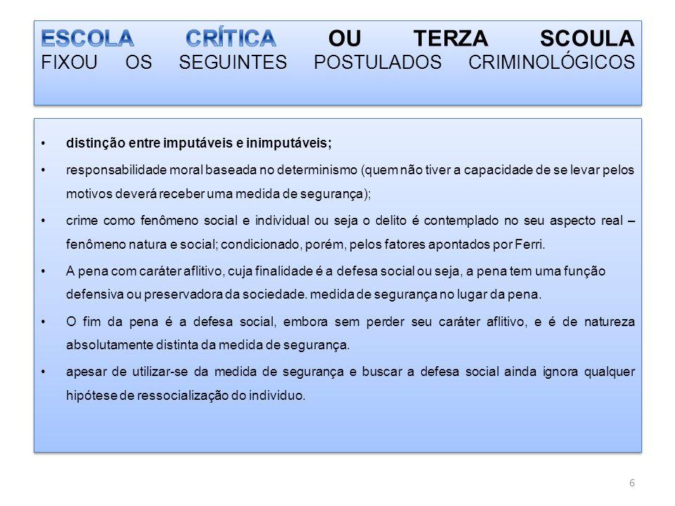 ESCOLA CRÍTICA OU TERZA SCOULA FIXOU OS SEGUINTES POSTULADOS CRIMINOLÓGICOS