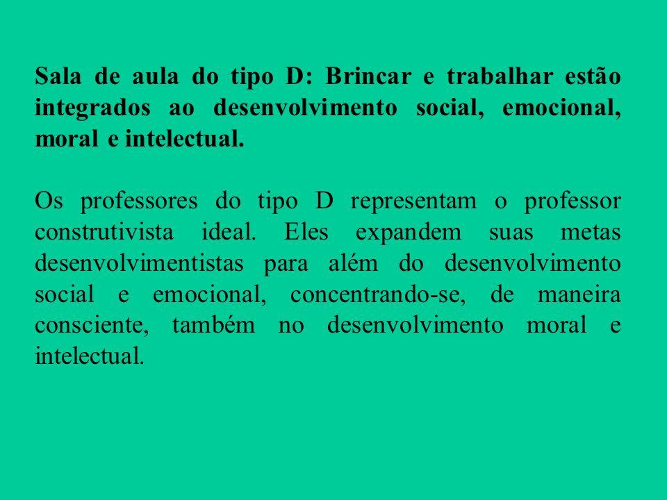 Sala de aula do tipo D: Brincar e trabalhar estão integrados ao desenvolvimento social, emocional, moral e intelectual.