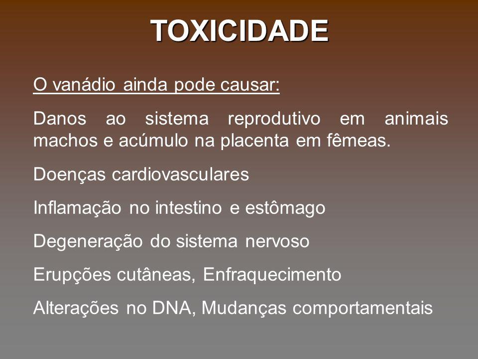 TOXICIDADE O vanádio ainda pode causar:
