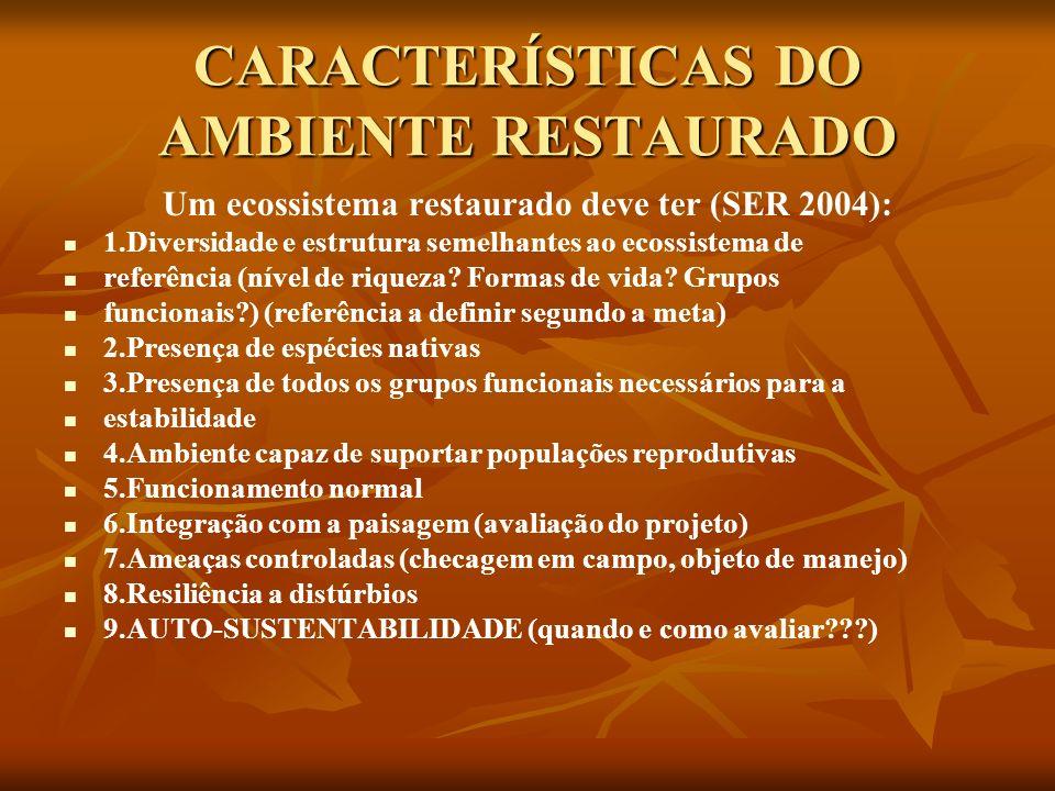 CARACTERÍSTICAS DO AMBIENTE RESTAURADO