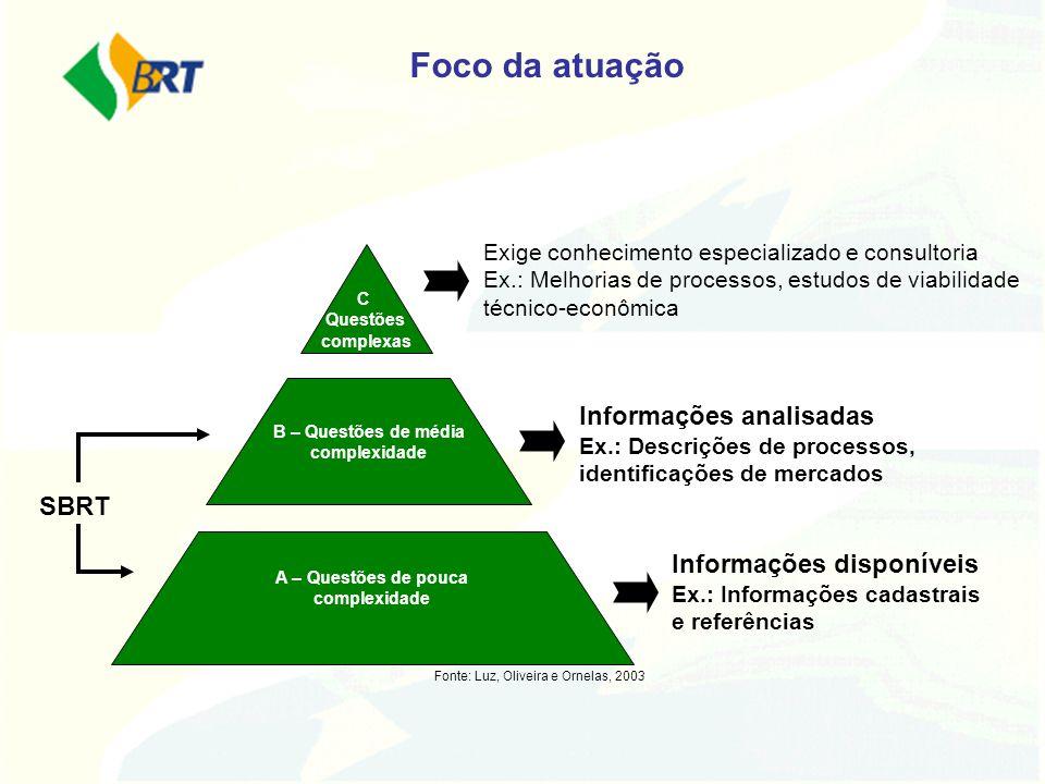 Foco da atuação Exige conhecimento especializado e consultoria Ex.: Melhorias de processos, estudos de viabilidade técnico-econômica.