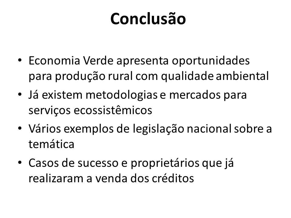 Conclusão Economia Verde apresenta oportunidades para produção rural com qualidade ambiental.