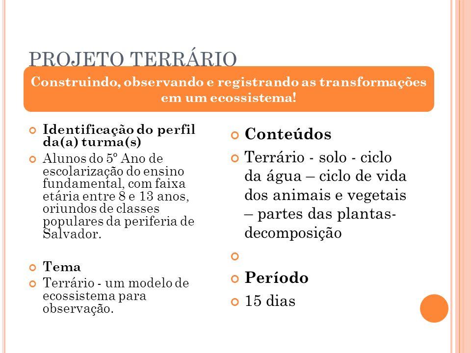 PROJETO TERRÁRIO Conteúdos