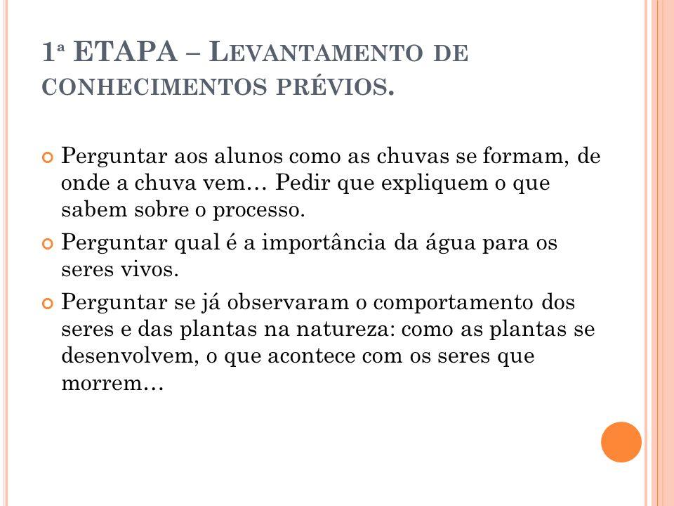1ª ETAPA – Levantamento de conhecimentos prévios.