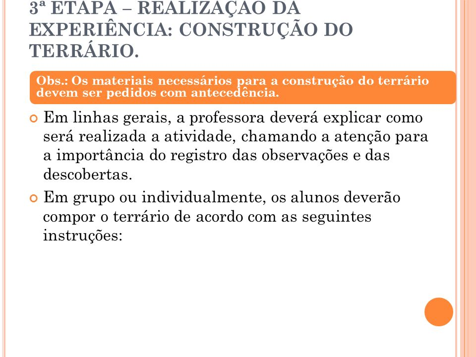 3ª ETAPA – REALIZAÇÃO DA EXPERIÊNCIA: CONSTRUÇÃO DO TERRÁRIO.