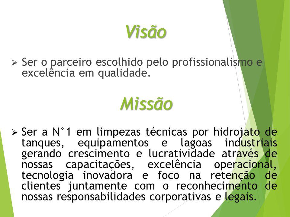 Visão Ser o parceiro escolhido pelo profissionalismo e excelência em qualidade. Missão.