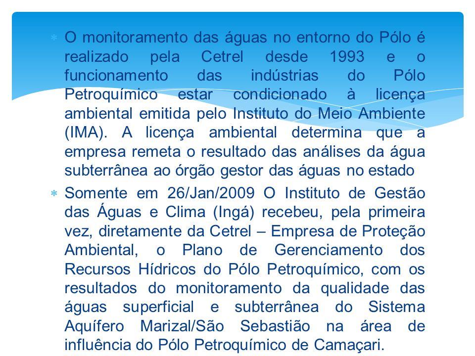 O monitoramento das águas no entorno do Pólo é realizado pela Cetrel desde 1993 e o funcionamento das indústrias do Pólo Petroquímico estar condicionado à licença ambiental emitida pelo Instituto do Meio Ambiente (IMA). A licença ambiental determina que a empresa remeta o resultado das análises da água subterrânea ao órgão gestor das águas no estado