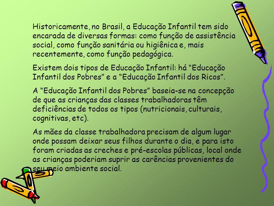 Historicamente, no Brasil, a Educação Infantil tem sido encarada de diversas formas: como função de assistência social, como função sanitária ou higiênica e, mais recentemente, como função pedagógica.