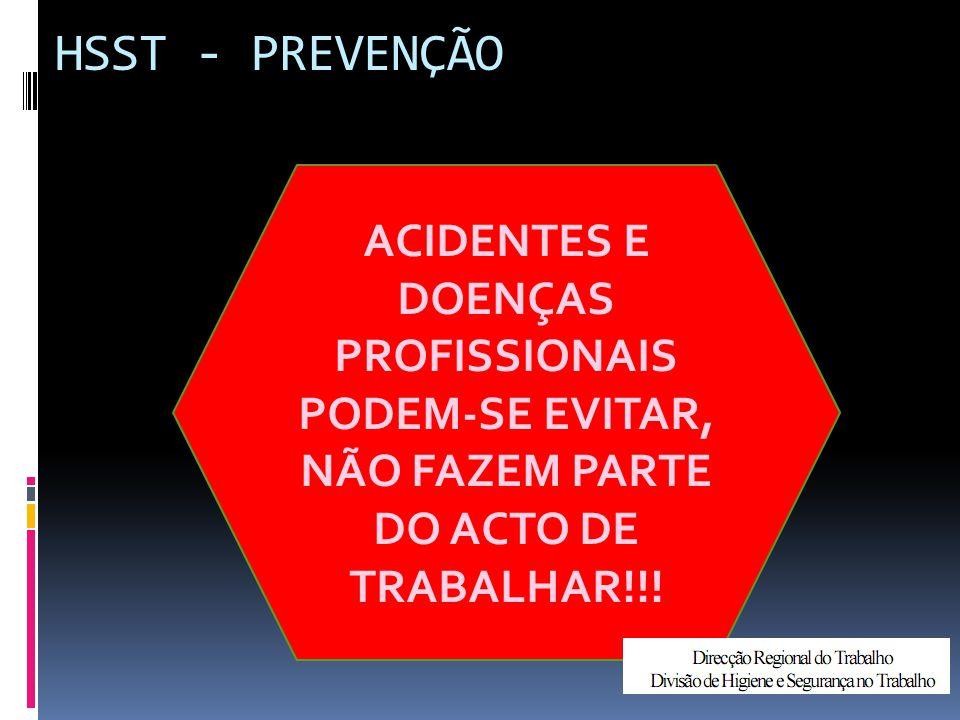 HSST - PREVENÇÃO ACIDENTES E DOENÇAS PROFISSIONAIS PODEM-SE EVITAR, NÃO FAZEM PARTE DO ACTO DE TRABALHAR!!!