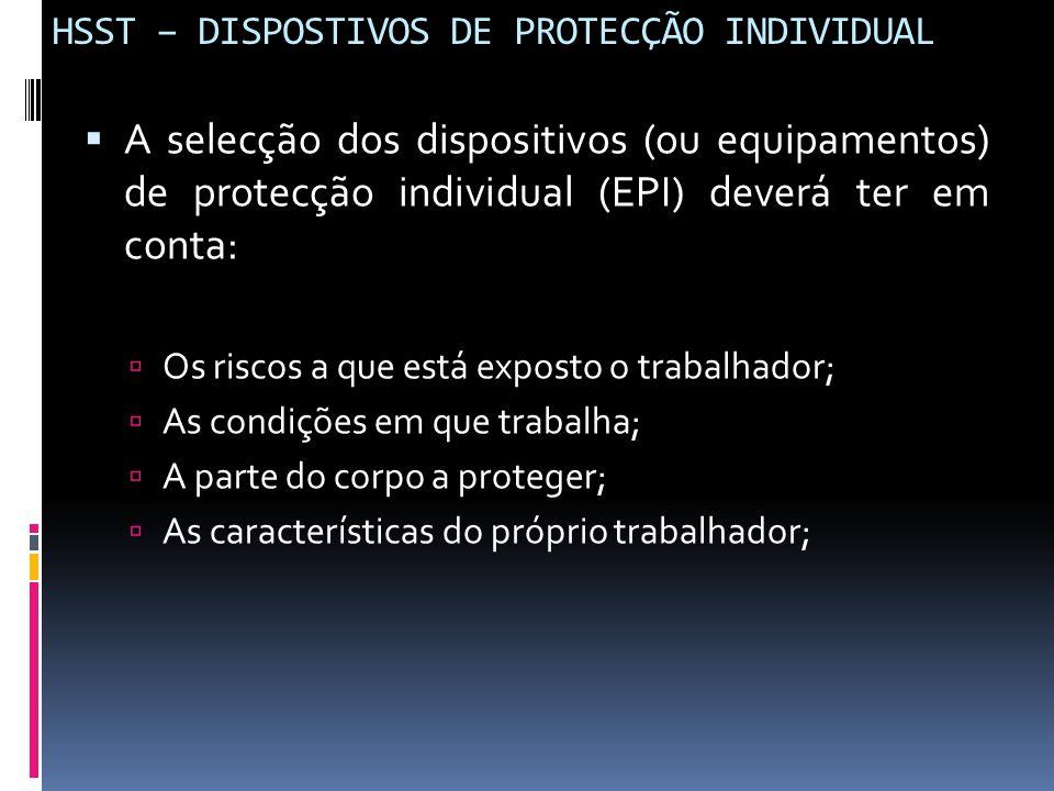 HSST – DISPOSTIVOS DE PROTECÇÃO INDIVIDUAL