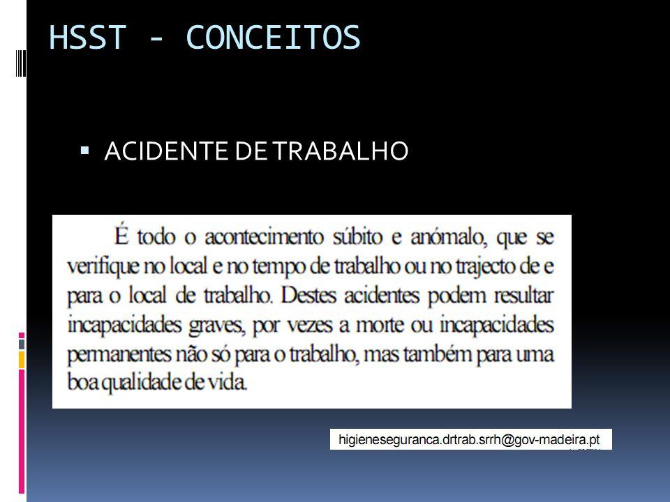 HSST - CONCEITOS ACIDENTE DE TRABALHO