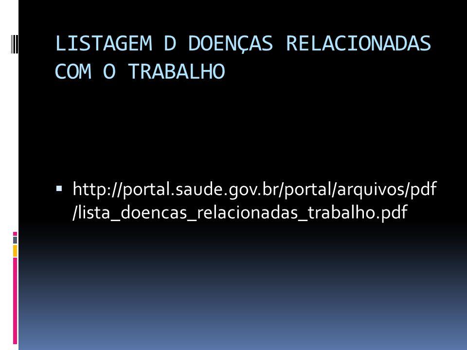 LISTAGEM D DOENÇAS RELACIONADAS COM O TRABALHO