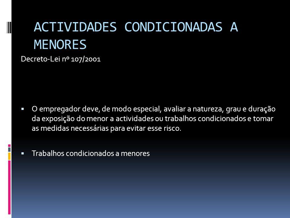 ACTIVIDADES CONDICIONADAS A MENORES