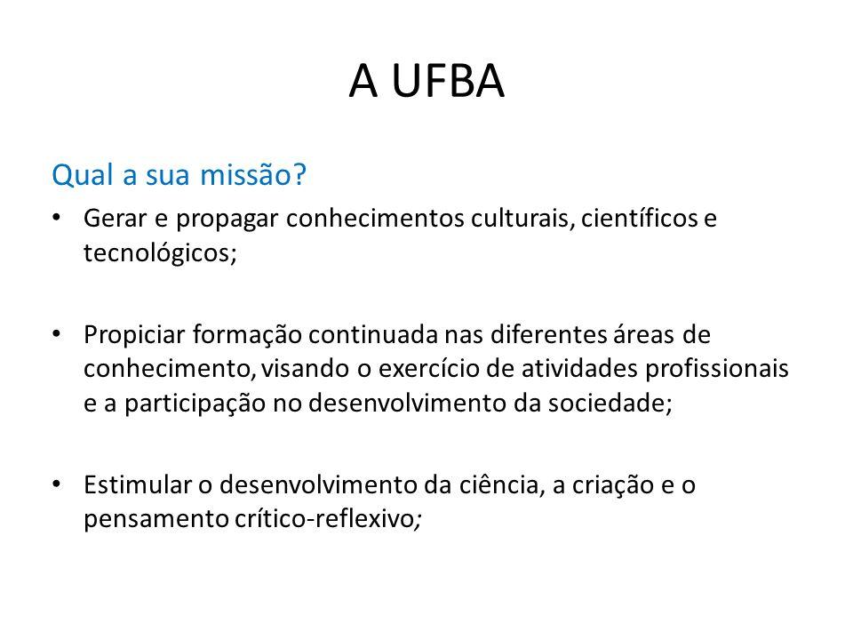 A UFBA Qual a sua missão Gerar e propagar conhecimentos culturais, científicos e tecnológicos;