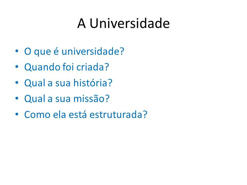A Universidade O que é universidade Quando foi criada